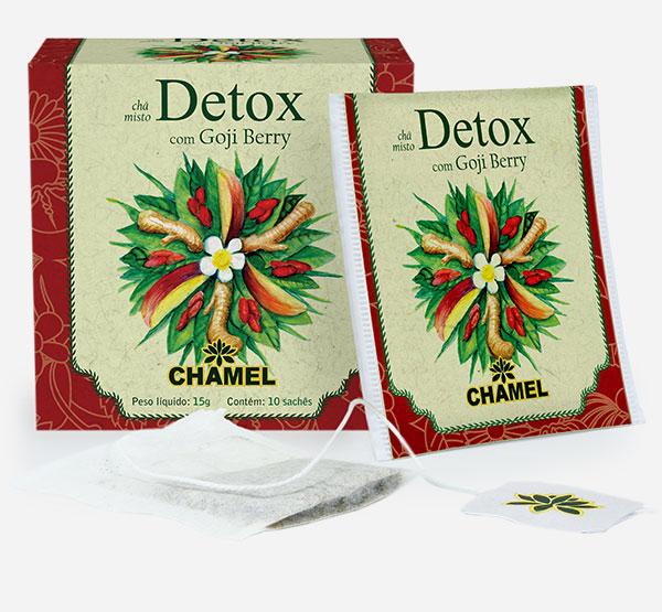 Chá Detox em sachês com Chá Verde, Maçã, Carqueja, Goji Berry, Gengibre e espinafre